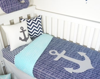 Aqua and navy nautical anchor nursery set items