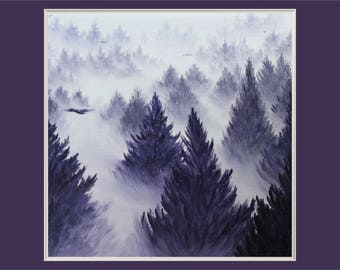 "Original 10x10"" Oil Painting - Foggy Forest Wall Art"