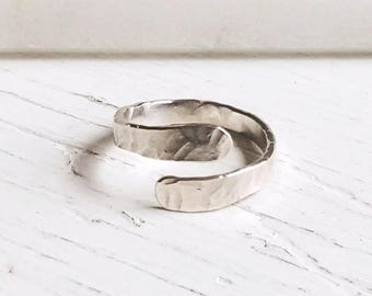 Silver Overlap Bypass Ring.Custom Size Hammered Organic Sterling Ring.25th Silver Anniversary Bridesmaid Christmas Birthday Gift Her Jewelry