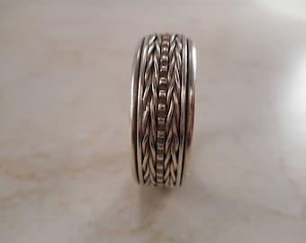 Vintage Sterling Silver Spinner Wedding Band Size 13 1/2 ,Woven Braid Design Ring