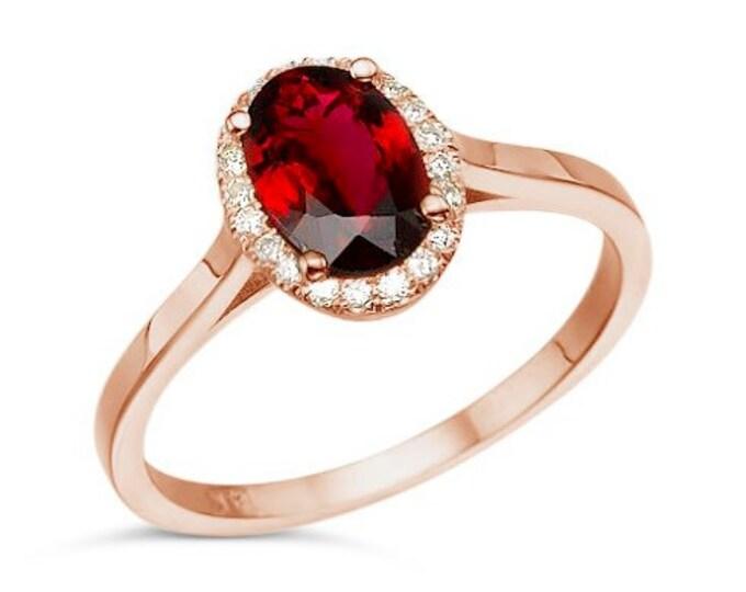 Tourmaline Diamond Engagement Ring - Rose Gold Ring -red tourmaline Engagement Ring-Wedding & Engagement-tourmaline ring-promise ring-