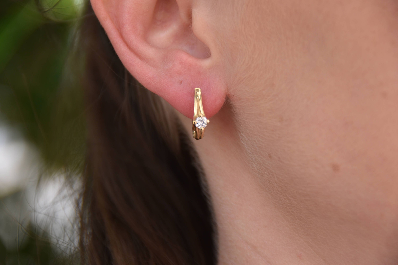 1 2 carat Gold Diamond Earrings 14K Yellow Gold Earrings Omega