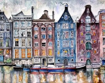 OLD AMSTERDAM.  Dutch buildings.   NETHERLANDS. Amsterdam prints.  Print from original watercolor.