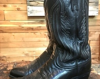 Vintage Lucchese 1883 Black Calf Leather Cowboy Western Boots Men's Sz 12 EE