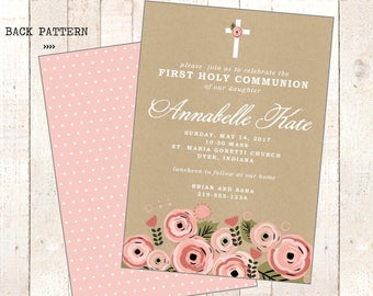 Girl Baptism Christening  or First Holy Communion - Cross -  Printable Invitation - Pink floral kraft