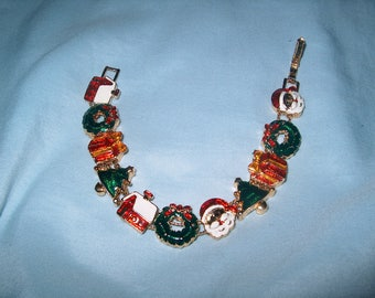 Vintage Costume Jewelry Christmas Slide Metal Bracelet