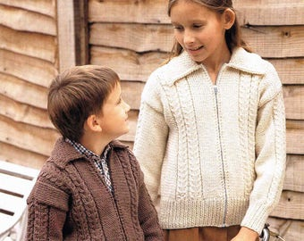 Child's Boy's Girl's Aran Zipped Jacket with Collar - Size 66 to 81 cm (26 to 32 inch) - Sunbeam 536 - Vintage Retro Knitting Pattern