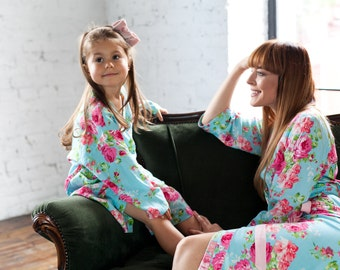 Bridesmaid Robes, Flower Girl Robes, Cotton Kimono Dressing Gown, Blue Bridesmaid Pajamas, Long Robe, Floral Pyjamas, Kids Robe, Floral Robe