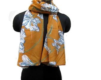 fashion scarf/ multicolored  scarf/ yellow scarf/ cotton scarf/ floral scarf/ gift scarf / gift ideas.