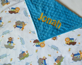 Personalized Baby Blanket or Lovey -  Baby Girl or Boy - Custom Made - You Choose Solid Minky Color - Noah's Ark - Blue, White, yellow