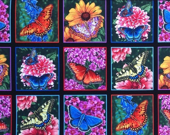 "Butterfly Garden cotton panel -- approximately 23"" x 44"""