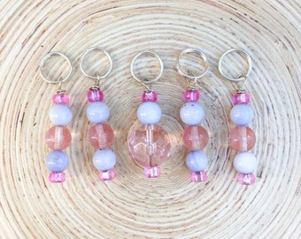 Pink and Blue Stitch markers | knitting stitch markers| knitting Accessory | Knitting Notions