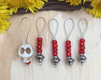 Red Skull Stitch markers | knitting stitch markers| knitting Accessory | Knitting Notions