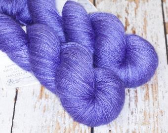 Hand Dyed Silk BFL Fingering in Mountain Purple