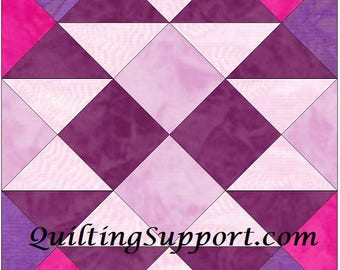 Purple Rose 15 Inch Block Paper Template Quilting Block Pattern PDF