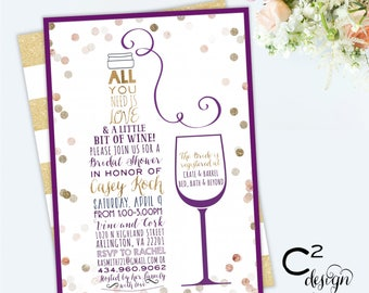Love & A Little Bit of Wine Purple Bridal Shower Invitation