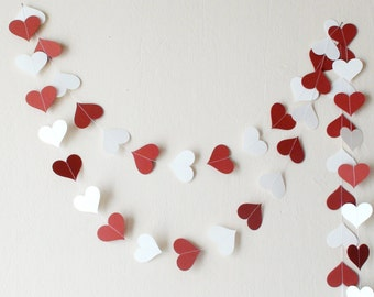 Terre rouge White paper heart garland, Wedding decor, Baby shower decor , nursery decor, Engagement party