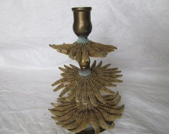 Vintage Natural History Oddity Curiosity Cabinet Brass Candlestick with Sunflower Starfish Bobeche