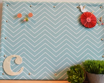 Personalized Cork Bulletin Board, Soft Pool and White Chevron Fabric Covered Cork Board with Push Pins, Pin Board and Wall Decor