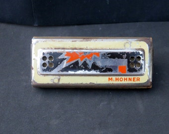 "Vintage German Echo-Luxe M.Hohner Harmonica, 1930's Art Deco M. Hohner ""Echo-Luxe"" Harmonica, Made In Germany."