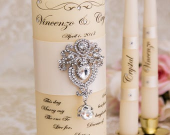 Personalized Unity Candle Set Ivory Wedding Unity Candle Set Ceremony Crystal Unity Candles Set Wedding Candles Set