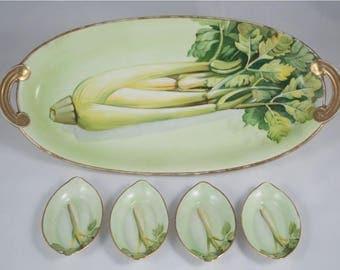 Antique Nippon Celery Dish / 4 Salt Cellars / Morimura Bros / Japan