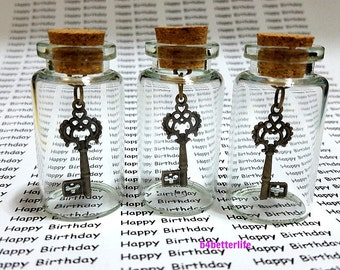 Lot Of 3pcs Bronze Tone Skeleton Key Metal Charm In A Mini Glass Bottle With Cork. #CIB2704BC.