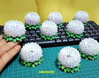 Lot of 9pcs White Color Mini Size Origami Lotus. (CY paper series). #FLT-166.