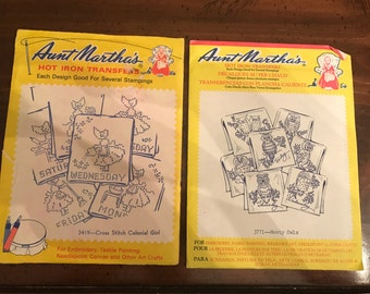 Aunt Martha's Hot Iron Transfers Hooty Owls and Colonial Girls Day of the Week