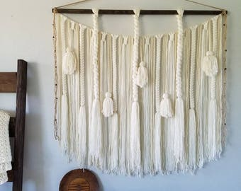 "48"" Large macramé wall hanging/Large woven wall hanging/Yarn wall hanging/Tapestry/Tassel wall hanging/White/Cream/Banner"