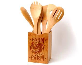 Farmhouse Style Bamboo Kitchen Utensil Holder - Farm Sweet Farm Kitchen Decor