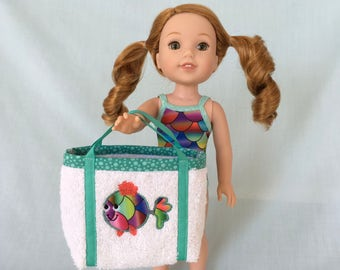 Rainbow Fish Scale Bathing Suit and Rainbow Fish Beach Bag for Wellie Wisher/14.5 Inch Doll