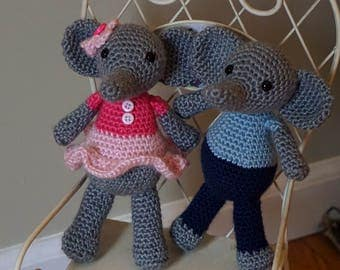 Boy and Girl Amigurumi Elephant