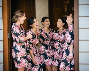 Black bridesmaids robes, floral bridesmaids robes, cotton bridesmaids, Japanese kimono bridesmaids robes, bridesmaids robes gifts, Agate