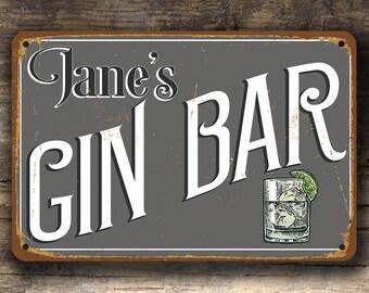 Customizable GIN BAR SIGN, Gin Sign, Vintage style Gin Bar Sign, Personalized Gin Bar Sign, Home Bar Decor, Home Wet Bar Decor, Gin decor