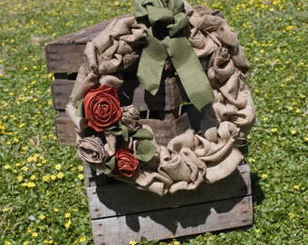 SALE!!  Flower and Burlap Fall Wreath