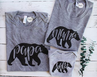 SET of 3 Bear Shirts - Papa Bear - Mama Bear - Baby Bear Matching Set