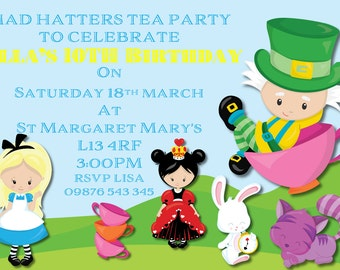 Mad Hatters Invitation. Printable. Tea Party Invite.
