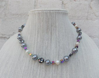 Silvery & Pearl Beaded Necklace with Whimsical Colorful Glass Beads, Metalic, Free Fast Shipping