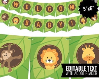 Safari Baby Shower Banner - Jungle Theme Bunting Banner - Printable Pennant Garland - Safari Gender Neutral Baby Shower Decoration. Editable
