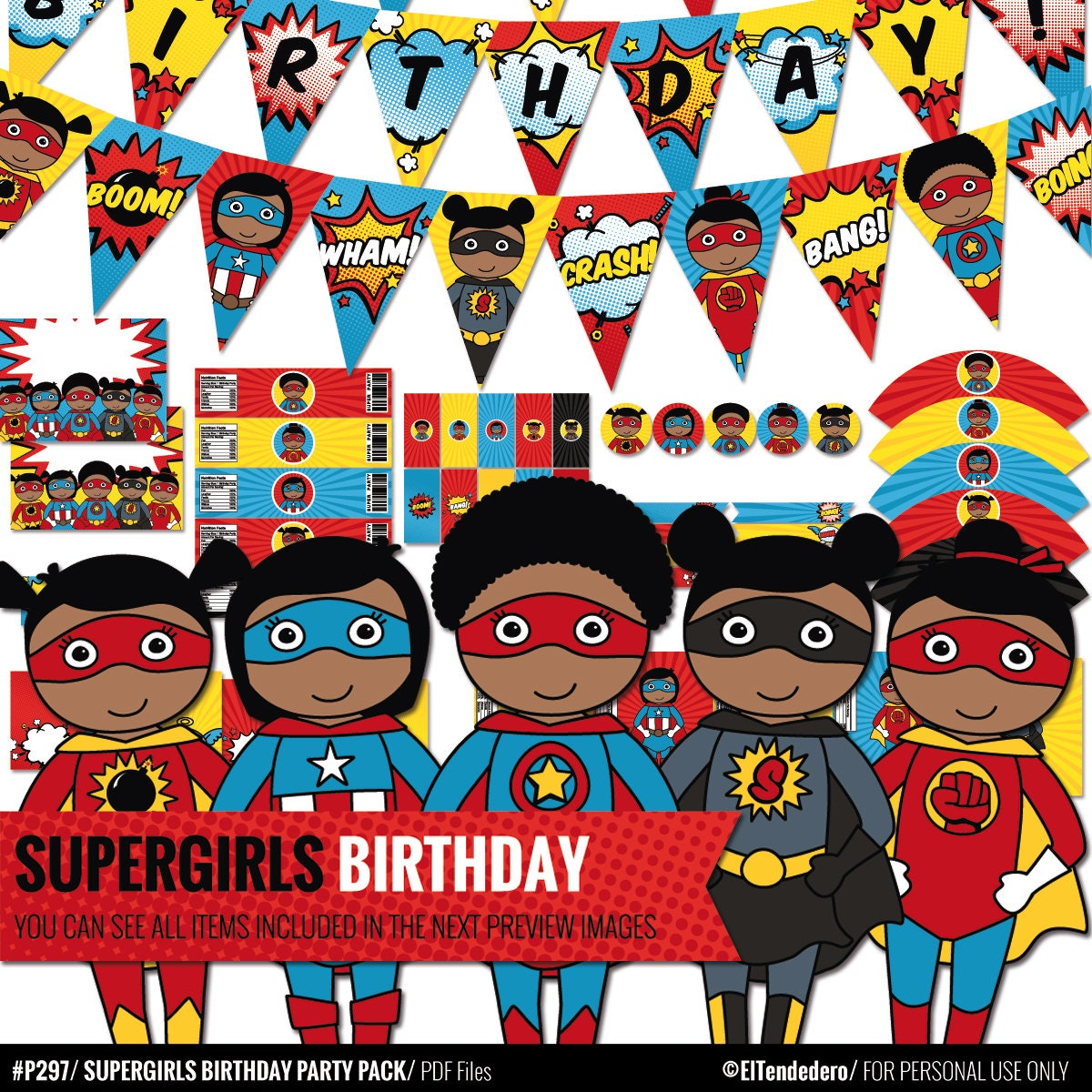 African American Supergirl Birthday Decorations Package Printable Comic Book Decor Afro Superhero Jpg 1200x1200