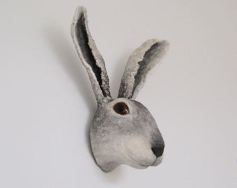 paper clay papier mache faux taxidermy arctic hare head (made to order)