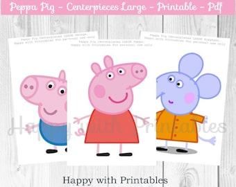 Peppa Pig Centerpieces - Peppa Centerpiece - Centerpiece Peppa Pig - George Pig Centerpieces - Peppa Pig - Peppa Pig party - Peppa printable