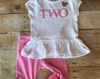 Two birthday ruffle tunic, two pink gold glitter heart shirt, girls 2nd birthday, pink and gold birthday, birthday girl