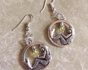 Mermaid Earrings Beach Ocean Sea Nature Sparkle Earrings–Long Dangle Lake
