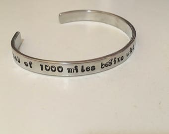 A journey of thousand miles begins with a single step/personalized aluminum handstamped 12 gauge cuff