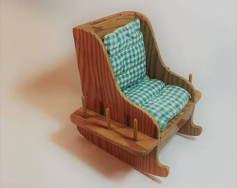 Vintage Wood Sewing Thread and Pin/Needle Caddy Rocking Chair