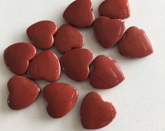 Red Jasper Heart Shaped Bead or Charm 12mm Gorgeous Deep Blood Red Color High Quality Jasper Side Drilled Beads