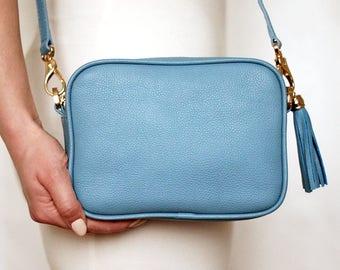 Free shipping! Blue bag, leather bag, blue leather bag, blue purse, blue crossbody, blue shoulder bag, small blue bag, blue tassel bag
