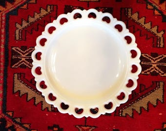 Vintage White Milk Glass Cake Plate